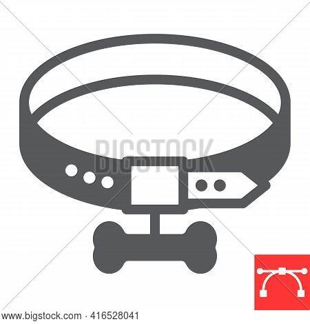 Dog Collar Glyph Icon, Pet Shop And Bone, Pet Collar Vector Icon, Vector Graphics, Editable Stroke S
