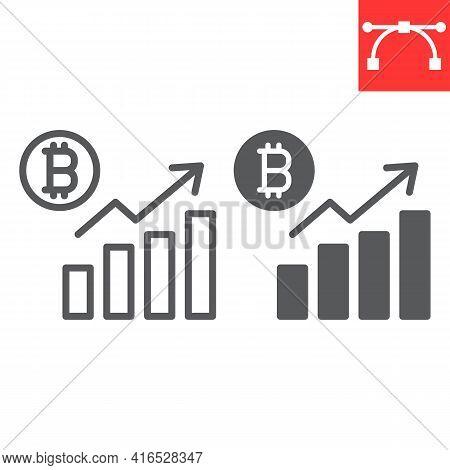 Bitcoin Statistics Line And Glyph Icon, Graph And Growth, Bitcoin Diagram Vector Icon, Vector Graphi
