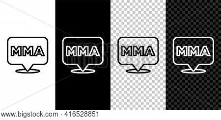 Set Line Fight Club Mma Icon Isolated On Black And White, Transparent Background. Mixed Martial Arts