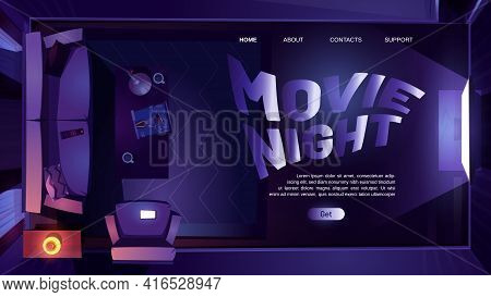 Movie Night Cartoon Landing Page, Dark Living Room Interior With Tv And Sofa Top View At Nighttime.