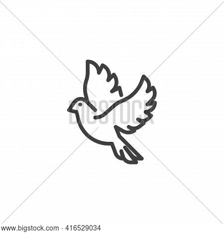 Flying Dove Line Icon. Linear Style Sign For Mobile Concept And Web Design. Dove Bird Outline Vector
