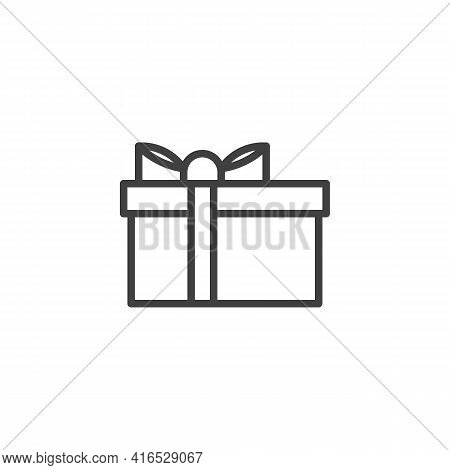 Gift Box With Bow Ribbon Line Icon. Linear Style Sign For Mobile Concept And Web Design. Gift Box, P