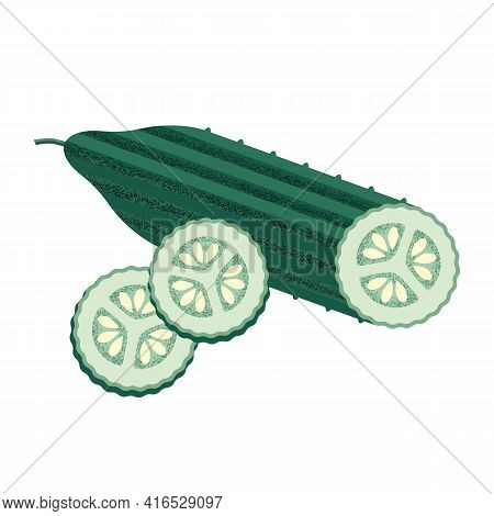 Green Cucumber Sliced With Pimples And Seeds In The Style Of A Modern Flat With A Noisy Grunge Textu