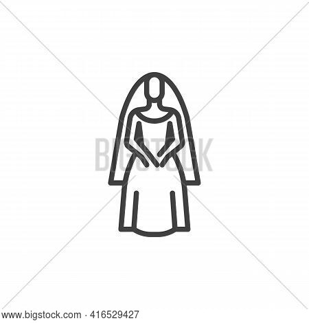 Bride In Wedding Dress Line Icon. Linear Style Sign For Mobile Concept And Web Design. Beautiful Bri