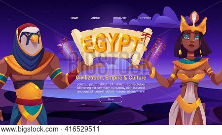 Ancient Egypt Cartoon Landing Page With Egyptian God Horus And Queen Cleopatra Holding Papyrus. Deit