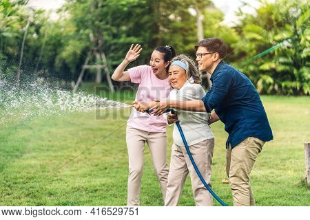Portrait Enjoy Happy Smiling Love Multi-generation Asian Big Family.senior Elderly Mother With Young