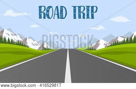 Road Trip. Highway Drive With Beautiful Landscape. Travel Road Car View. Highway With Panoramic View