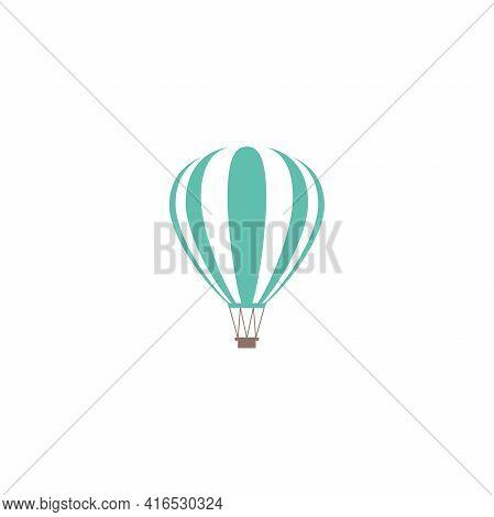 Blue Hot Air Balloon. Flat Cartoon Icon. Vector Illustration Isolated On White. Aerostat Sign.