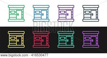 Set Line Sauna Wooden Bathhouse Icon Isolated On Black And White Background. Heat Spa Relaxation The
