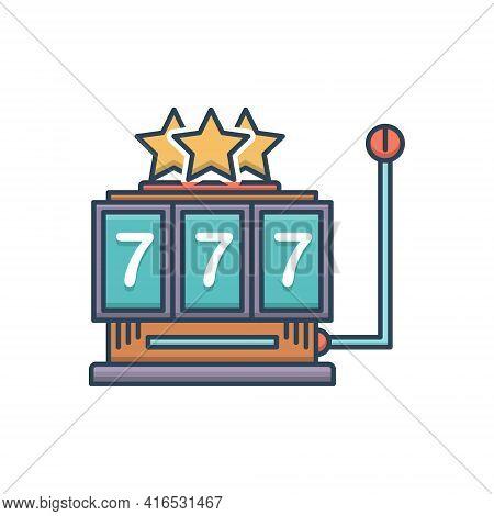Color Illustration Icon For Slot-machine Slot Machine  Jackpot  Gamble
