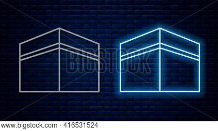 Glowing Neon Line Kaaba Mosque Icon Isolated On Brick Wall Background. Kaaba Hajj Mecca Pray Pilgrim