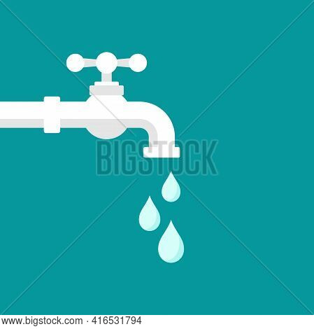 Water Tap With Classic Old Valve And Drop Or Droplet. Flat Icon Isolated On Blue. Faucet Pictogram.