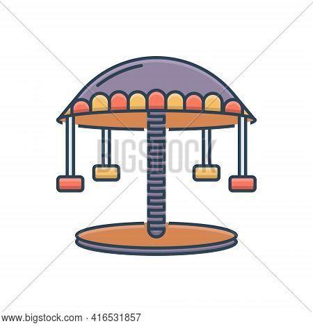 Color Illustration Icon For Carousel  Amusement-park  Fair Fun Funfair Ride