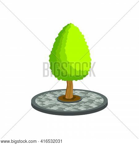 Design Of Paving Slabs In The Form Of A Circle With A Tree In The Center.vector Isometric And 3d Vie