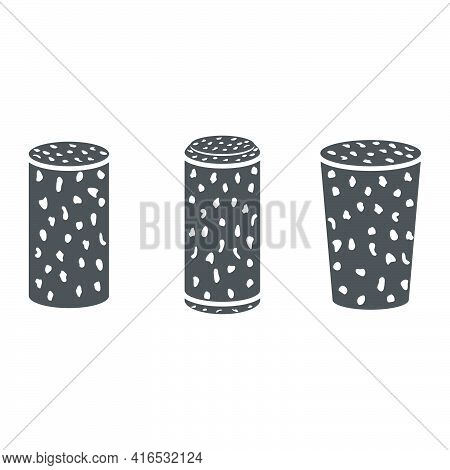 Set Of Wine Corks Icon In Flat Style.vector Illustration.