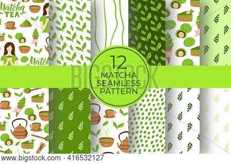 Matcha Green Tea Pattern Set. Seamless Japanese Culture Pattern Collection With Matcha Powder, Bowl,