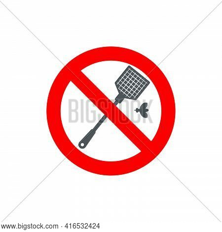 Sign Forbidden To Kill Insects In A Flat Style. Vector Illustration.