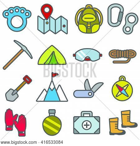 Alpinism.equipment And Outfit For Rock Climbing Set Color Icons In Flat Style.vector Illustration.