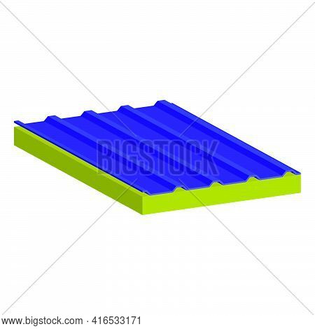Sandwich Panel Two-layer. A Filler-mineral Wool.vector Isometric And 3d View.