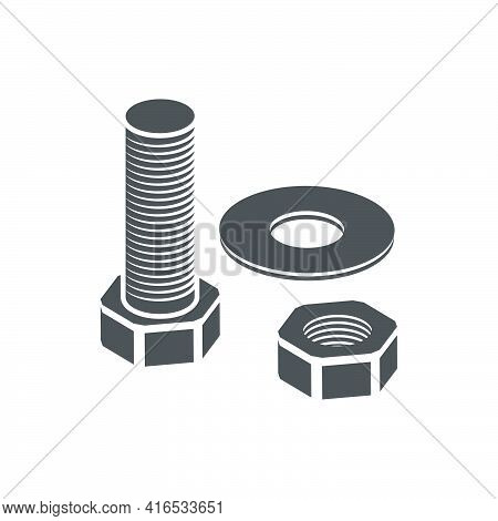 Stainless Steel Bolt And Nut Icon In Flat Style.vector Illustration.