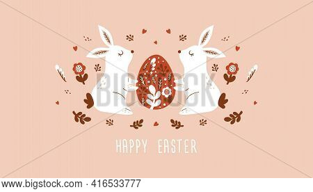 Happy Easter Card, Banner  With Bunnies  Easter Eggs, Flowers In Trendy Style. Folk Art. Vector Illu