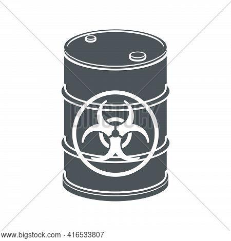 Metal Barrel With Biological Waste Icon.vector Illustration.
