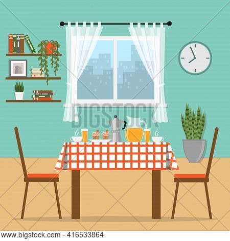 Table Covered With A Tablecloth And Breakfast On It. Breakfast At Home. Cozy Room With Shelves, Plan