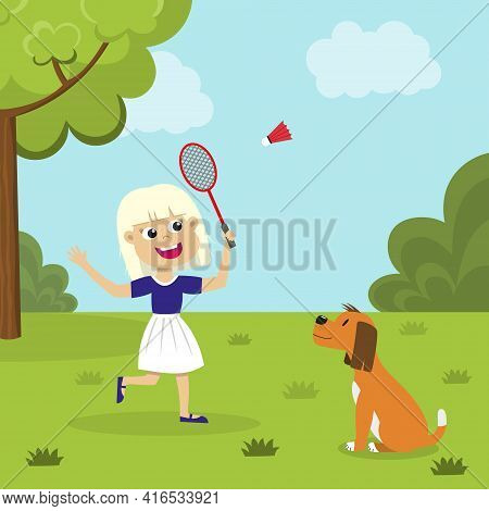 Cute Blond Girl Playing Badminton Outside. Smiling Kid With Badminton Racket And Shuttlecock Playing