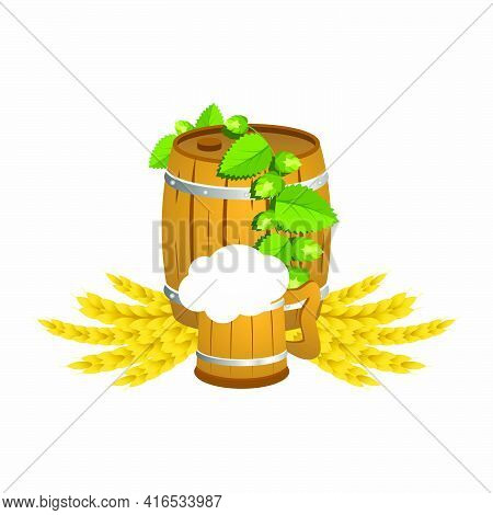 Wooden Beer Barrel With A Wooden Mug Of Beer With Hops And Wheat.vector Illustration.