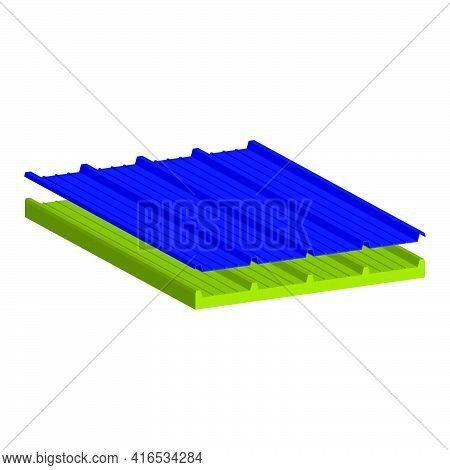 Roofing Sandwich Panel Two-layer. A Filler-mineral Wool.vector Isometric And 3d View.