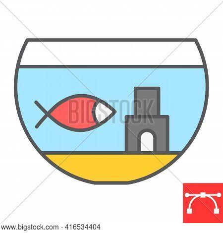 Aquarium Color Line Icon, Pet And Fishbowl, Fish In Aquarium Vector Icon, Vector Graphics, Editable