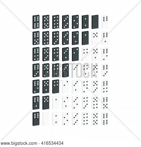 Set Of Black And White Dominoes3d Vector Illustration And Isometric View.