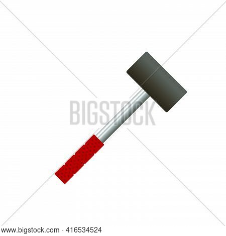 Rubber Mallet For Laying Tiles.3d Vector Illustration And Isometric View.