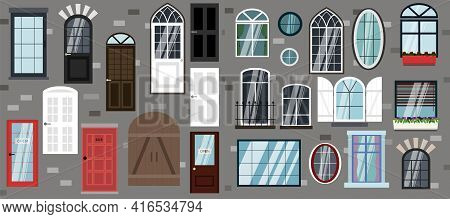 Set Of Vector Doors And Windows. Flat Illustration Of Different Types, Designs And Styles Of Door St