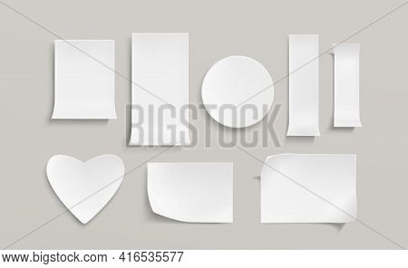 White Paper Stickers, Blank Round, Rectangle And Heart Shape Sticky Notes. Vector Realistic Set Of E