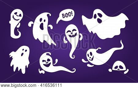 Cute Ghost Holiday Characters Flat Style Design Vector Illustration Set Isolated On Dark Background.