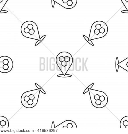 Grey Line Honeycomb Bee Location Map Pin Pointer Icon Isolated Seamless Pattern On White Background.