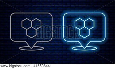 Glowing Neon Line Honeycomb Bee Location Map Pin Pointer Icon Isolated On Brick Wall Background. Far