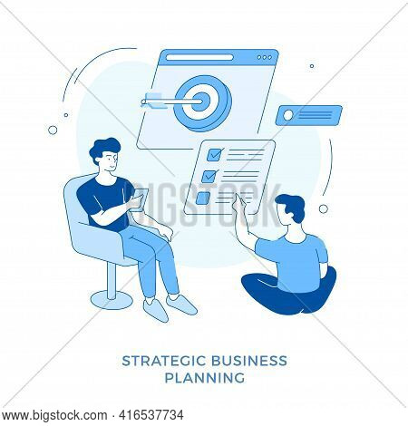 Linear Flat Strategic Business Planning. Male Cartoon Characters Business Partners Working Together