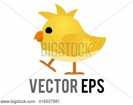 The Isolated Vector Yellow Baby Chicken, Chick Eye And Orange Month In Side View