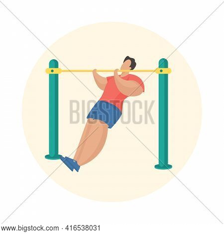 Man Doing Pull-ups Workout. Outdoor Fitness Equipment. Male Cartoon Character Pulling Himself On Hor