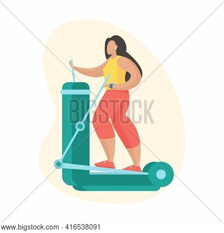 Woman Doing Exercises With Elliptical Trainer. Outdoor Sports Equipment. Female Cartoon Character In