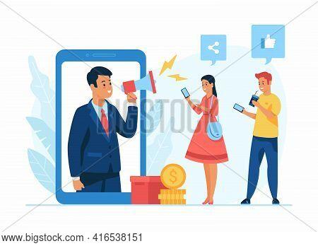 Social Media Management Concept Flat Vector Illustration. Male Cartoon Character Holding Megaphone S