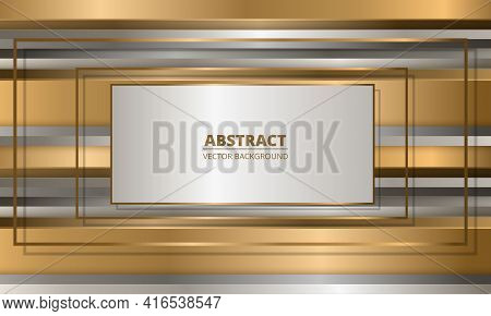 Golden Frames On Abstract Background With Gold And Silver Three Dimensional Shapes. Metallic Abstrac