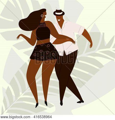Hand Drawn Vector Illustration Of A Couple Dancing Sexy Fun Bachata, Salsa, Mambo, Kizomba Dance. Is