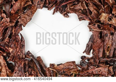 Natural Treats For Pets. Dried Beef Lungs With The Blank White Area. Full Frame Of Dried Treat Piece