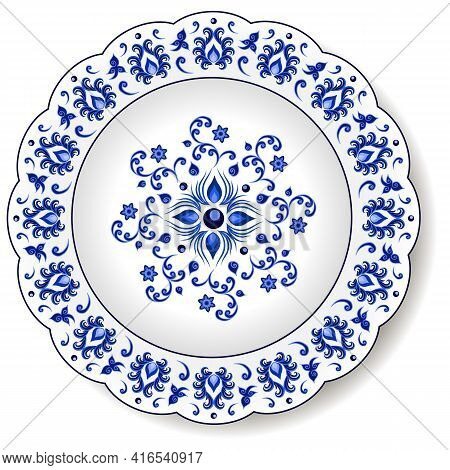 Porcelain Plate With Blue On White Abstract Oriental Ornament In  Chinese Design Style. Traditional