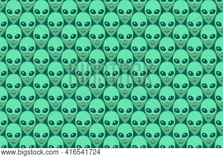 Seamless Pattern With Aliens Green Heads. Ufo, Humanoids Endless Backdrop Isolated. Smiling Visitors