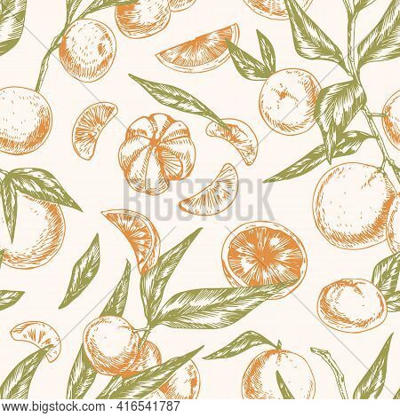 Seamless Citrus Pattern With Whole Mandarins, Clementine Slices, Tangerine Segments And Leaves. Endl