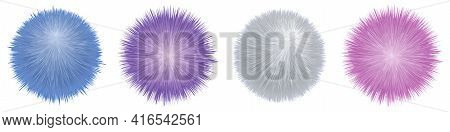 Fur Pompoms. Fluffy Furry Balls, Set Of Colorful Isolated Elements. Shaggy Realistic Texture. Vector